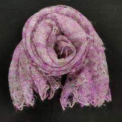 Оренбургский пуховый палантин розовый 27
