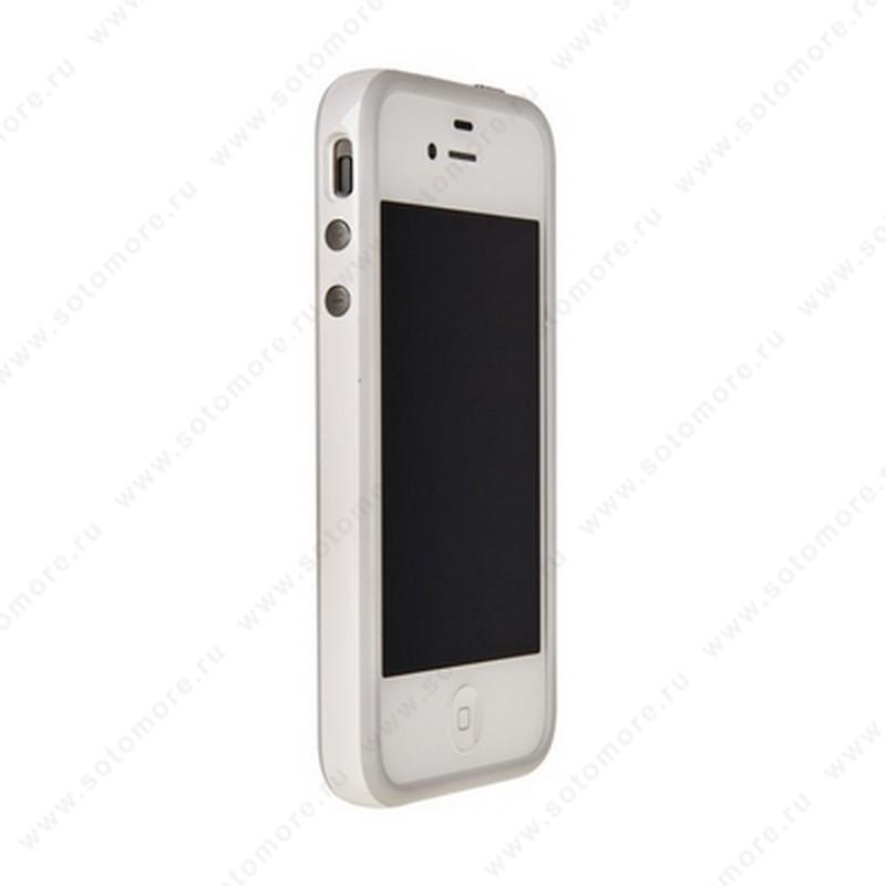 Бампер для Apple iPhone 4s/ 4 Bumper, цветное яблоко на упаковке, белый