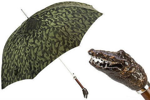 Зонт-трость Pasotti Camouflage with Crocodile Handle, Италия (арт.478 11780-254 K66).