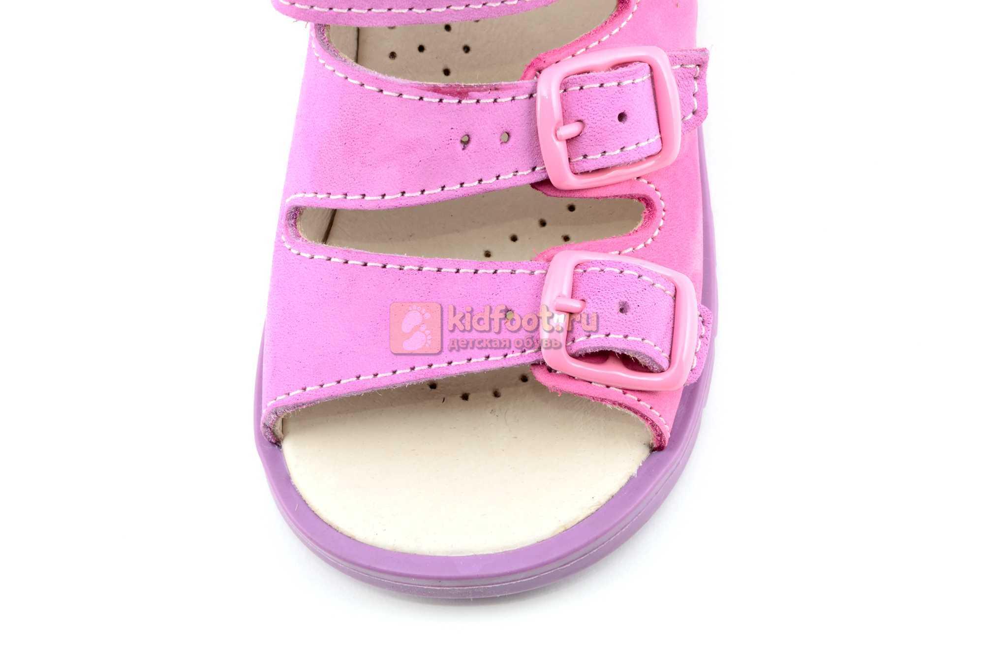 Босоножки Тотто из натуральной кожи с открытым носом для девочек, цвет сирень розовый