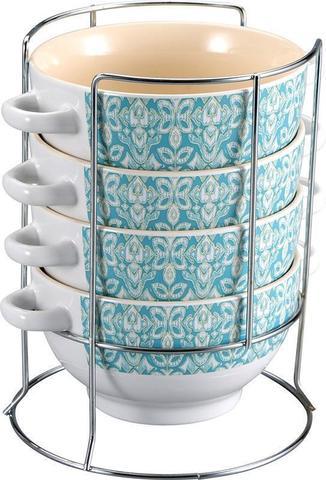 Набор 4 пиалы Wellberg Vertigo Blue 680 мл на металлический подставке (WB-20752)