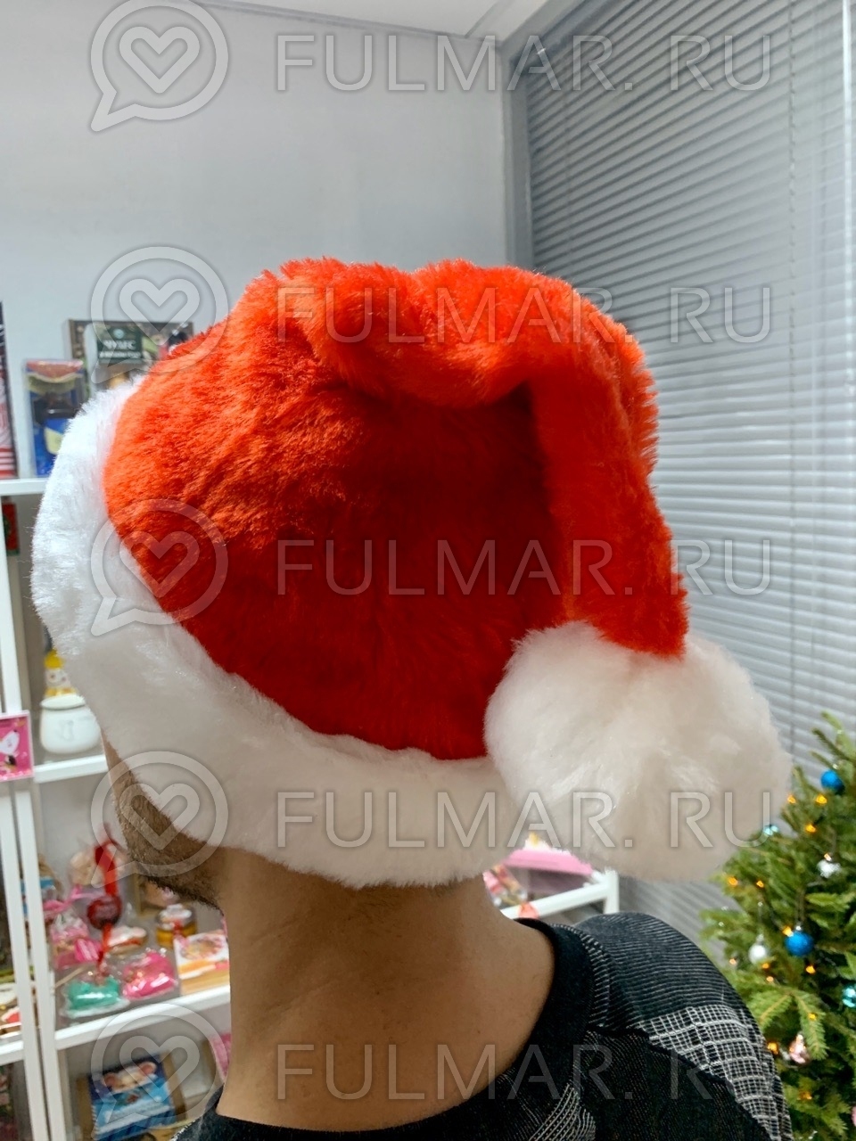 Новогодний колпак-шапка (Цвет: светло Красный) фото