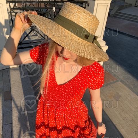 Шляпа канотье с оливковой лентой соломенная летняя София