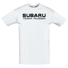 Футболка с принтом Субару (Subaru) белая 8