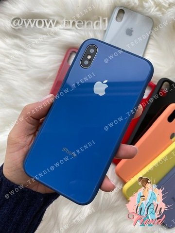 Чехол iPhone X/XS Glass Pastel color Logo /blue/