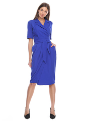 Синее платье на запах с юбкой карандаш