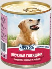 Консервы для собак Happy Dog Вкусная Говядина с сердцем, печенью и рубцом