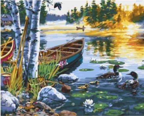 Алмазная Мозаика 40x50 Рыбаки на озере (арт. GA73217)