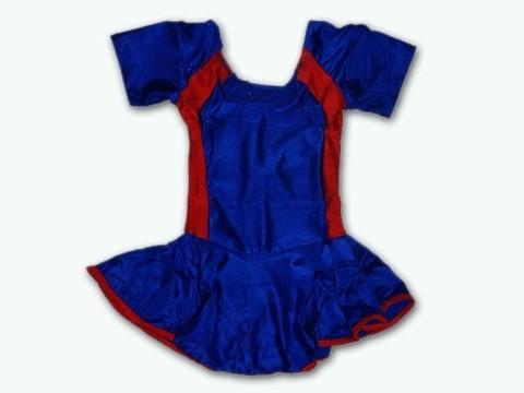 Купальник гимнастический модельный с юбкой. Состав: полиэстер. Размер L. Цвет: сине-красный. :(2008):