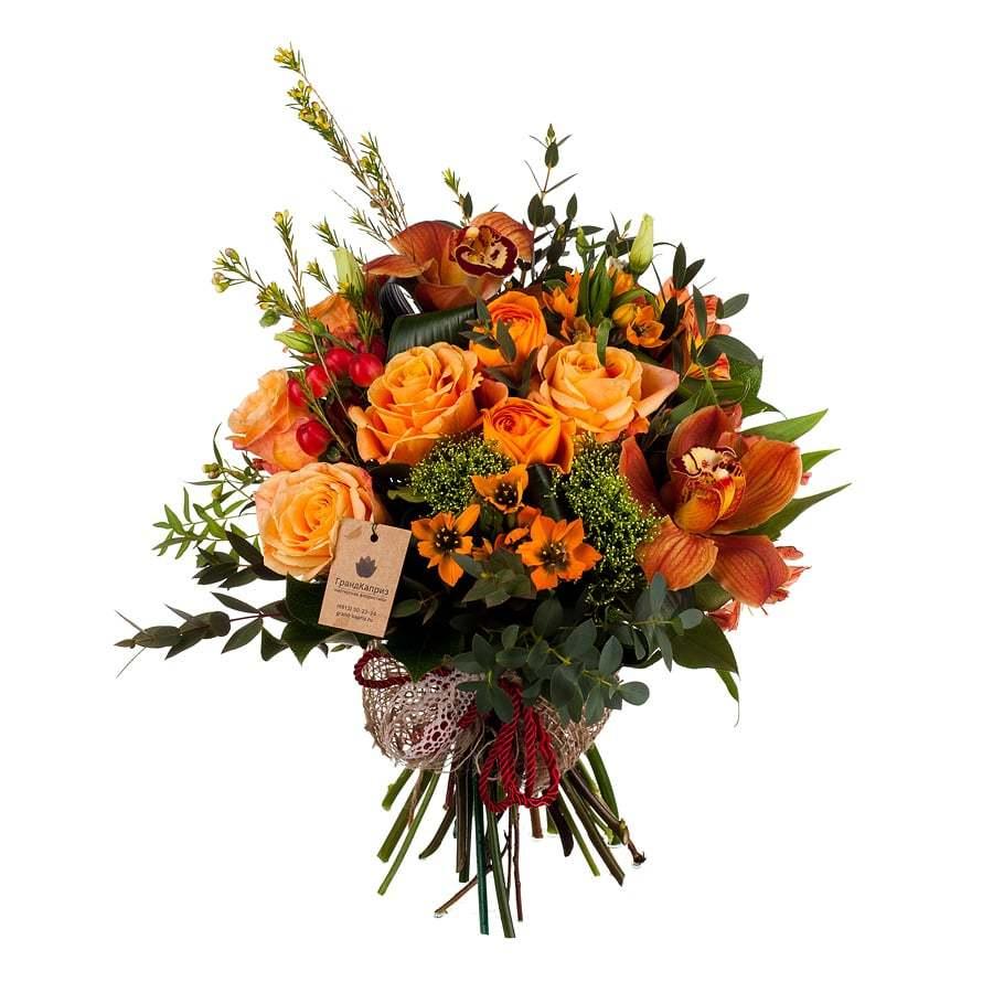Букет из роз и орхидей - Медовая сказка