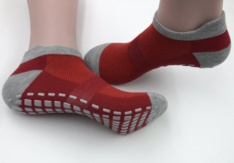 Нескользящие носки (р. 38-42, красно-серые) - Усиленные, для йоги, батута, фитнеса