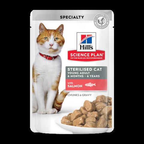 Hill's Science Plan Sterilised Cat Консервы для молодых стерилизованных кошек и кастрированных котов с лососем в соусе (пауч)