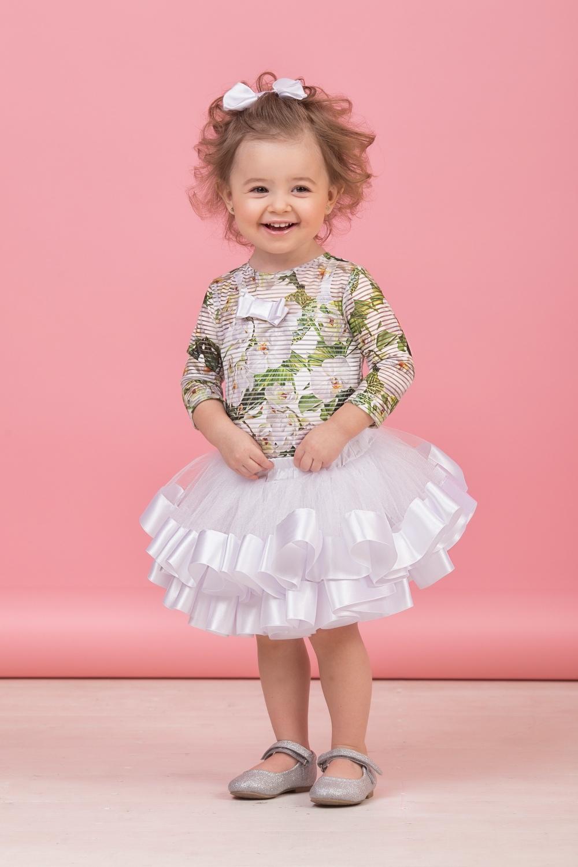 Комплект (блузка, майка, юбка) белый для девочки 64-8004-1