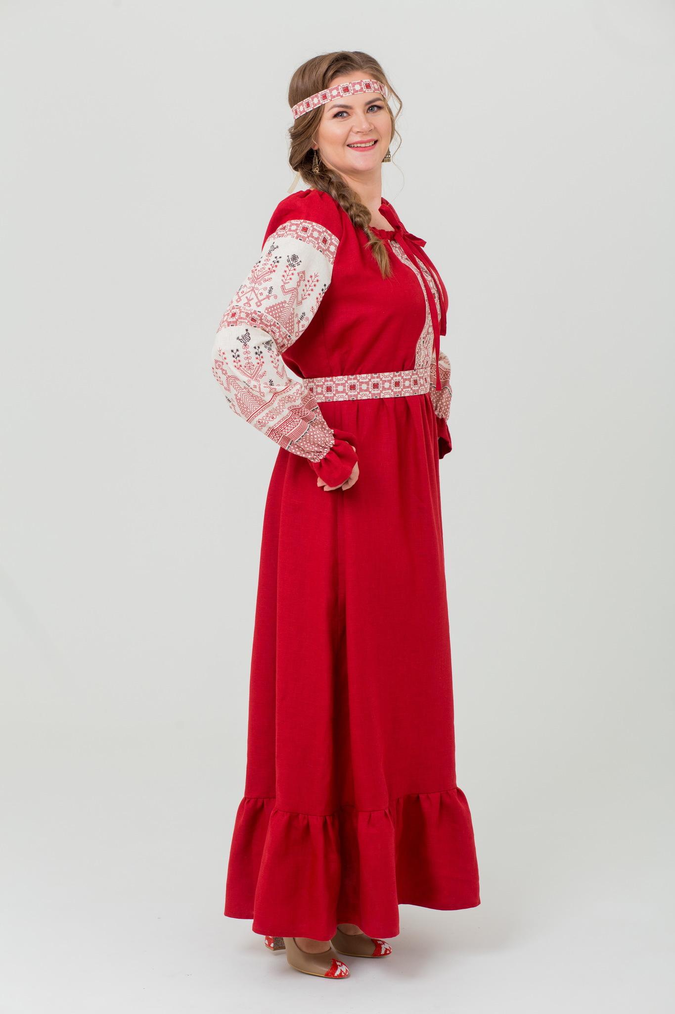 Платье льняное Брусничный цвет русское народное