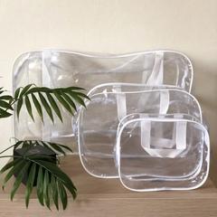 Прозрачная сумка в роддом с 2 косметичками, белая