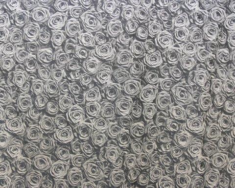Портьерная ткань сатин-жаккард с 3D эффектом Розы серый