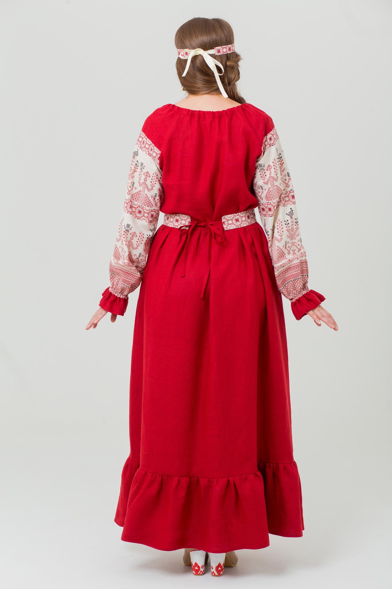 Русское платье в пол Брусничный цвет купить