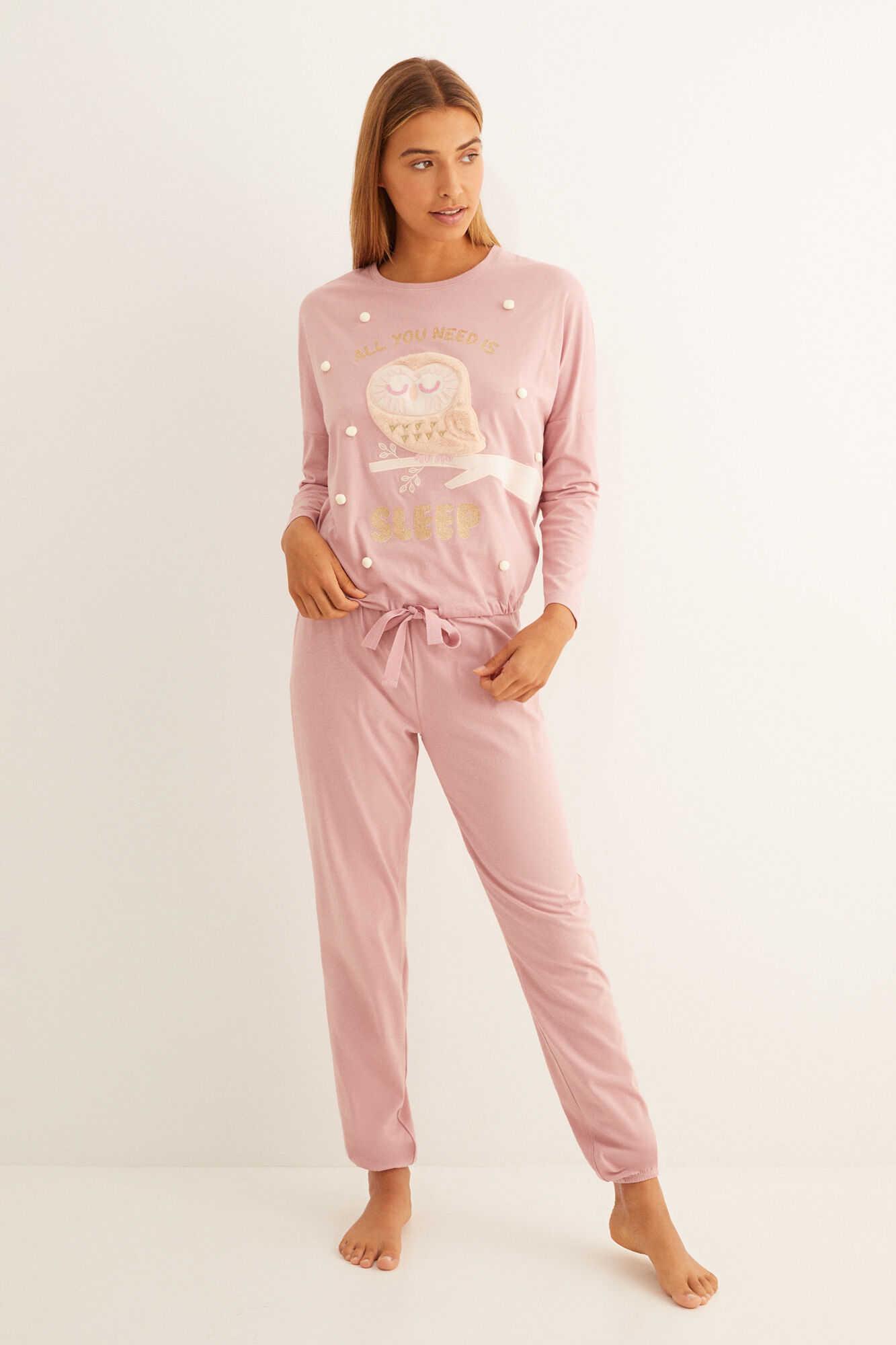 Довга рожева флісова піжама з совою