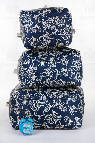 Мягкий средний широкий кофр для одежды, L, 56*42*24 см (темно-синий с узорами)