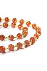 Красное классическое ожерелье из муранского стекла с небольшими бусинами недорогое
