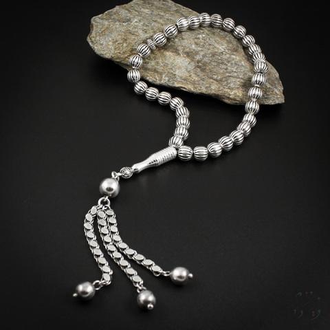 Чётки из серебра 925 пробы 33 бусины