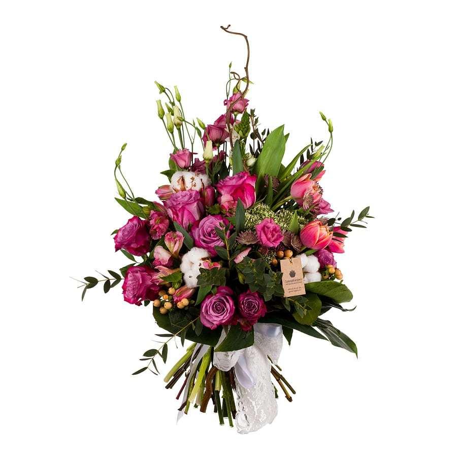 Букет из роз и альстромерий - Фиолетовое чудо