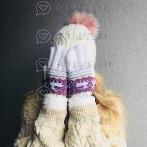 Перчатки с оленями шерстяные женские (Цвет: белый)