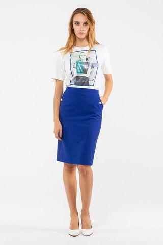 Фото стильная прямая синяя юбка с карманами - Юбка Б100а-707 (1)