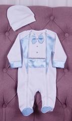 Комплект на выписку для мальчика Волшебный белый с голубым