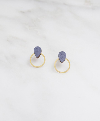 Серьги Raindrop Hoop Studs in Blueberry