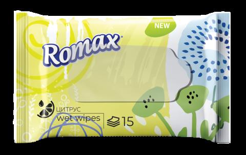 Фабрика Ромакс Romax Влажные салфетки гигиенические освежающие с ароматом цитруса 15 шт.