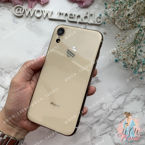 Чехол iPhone XR Glass Silicone Case Logo /gold/