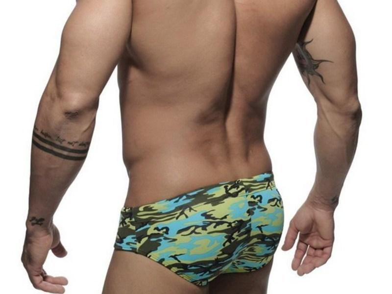 Мужские плавки брифы зелено-голубые Addicted Camo