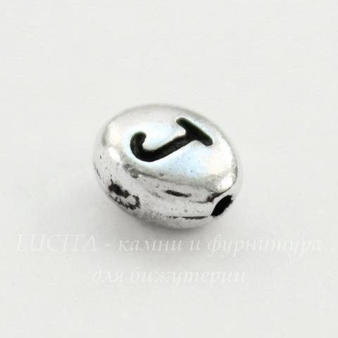 """Бусина овальная TierraCast """"Буква J"""" 7х6х3 мм (цвет-античное серебро)"""