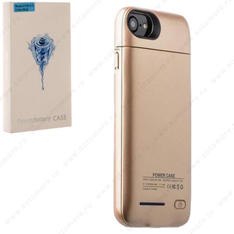Аккумулятор чехол для Apple iPhone 8 Plus/ 7 Plus 3000 мАч 1.0A D706 желтое золото