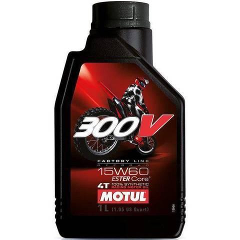 Масло моторное синтетическое Motul 300V Off Road Factory Line 4T 15W-60 1л для мотоцикла, квадроцикла