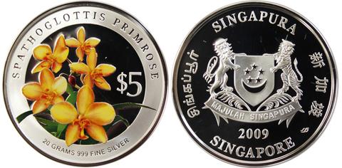 5 долларов 2009 год. Сингапур. Орхидея Spathoglottis Primrose. Серебро PROOF с цветной печатью