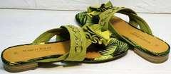 Модные женские шлепанцы сандали летние Marco Tozzi 2-27104-20 Green.