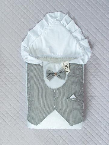 Зимний  конверт одеяло Джентльмен (белый/цв,(полоска)
