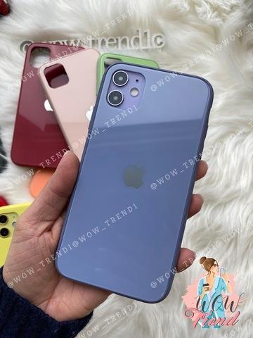 Чехол iPhone X/XS Glass Pastel color Logo /lavender gray/