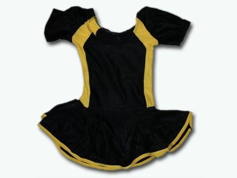 Купальник гимнастический модельный с юбкой. Состав: полиэстер. Размер XL. Цвет: чёрно-жёлтый. :(2008):