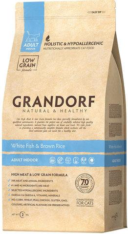 Grandorf Cat Indoor сухой корм для кошек (белая рыба с рисом) 400г