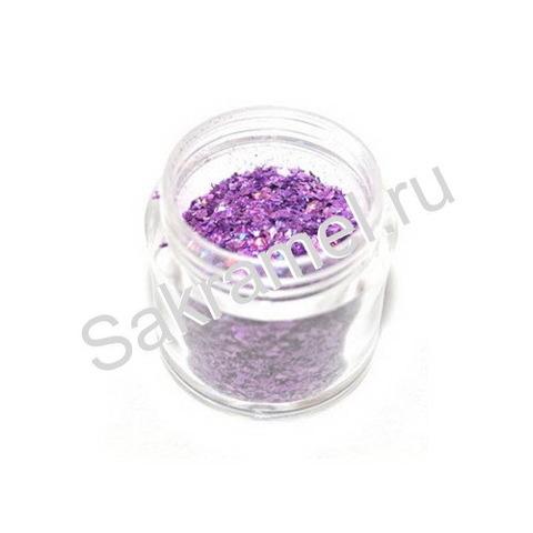 Блестки в банке 10 гр.крупные Пурпурный