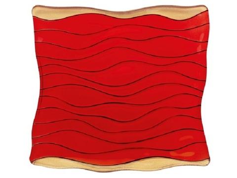 Тарелка квадратная красно-золотая, артикул 84847. Серия Ocean