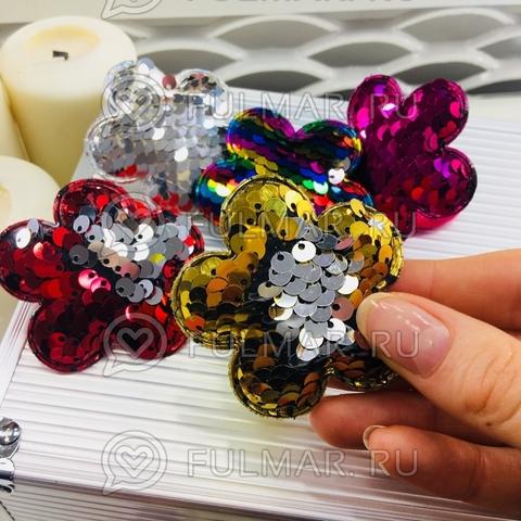 Набор резинки для волос Цветочки с двусторонними пайетками меняют цвет  (6 шт.)