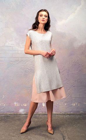 Фото серебристое платье из блестящей ткани с кружевом - Платье З337-128 (1)