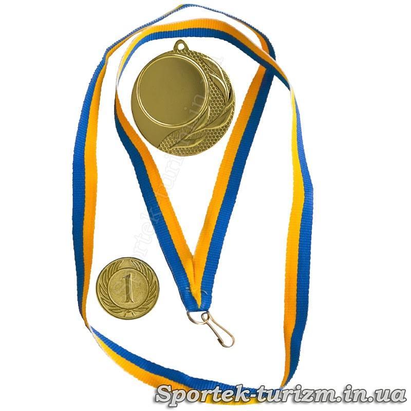 Золотая медаль, ленточка и вставка с номером места