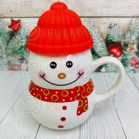 Кружка новогодняя с крышкой Снеговик в шапочке красный 300 мл
