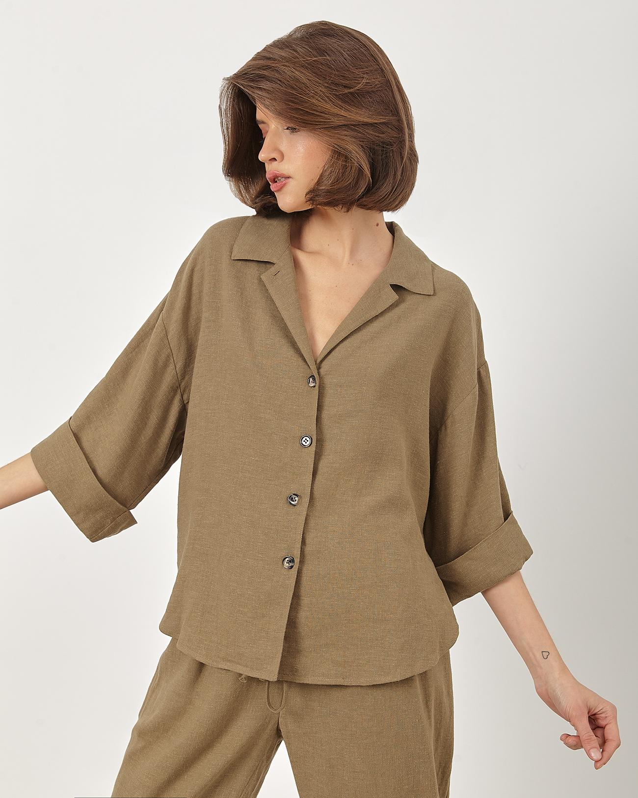 Рубашка укороченная изо льна цвета хаки фото