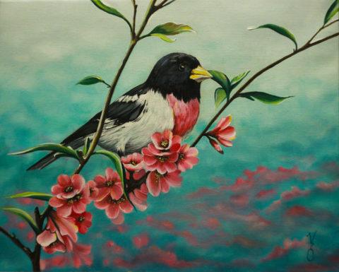 Алмазная Мозаика 20x30 Птица на ветке с цветами